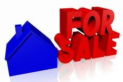 3D huis voor verkoopconcept Stock Afbeeldingen