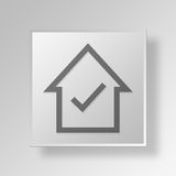 3D Huiscontrole Mark Button Icon Concept Stock Afbeeldingen