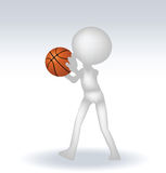 3d human basketball player. With ball on white background Royalty Free Stock Photo