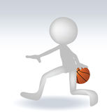3d human basketball player. With ball on white background Royalty Free Stock Photography