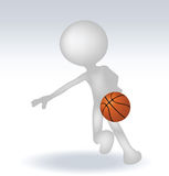 3d human basketball player. With ball on white background Stock Images