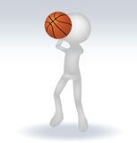 3d human basketball player. With ball on white background Stock Photography