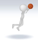 3d human basketball player. With ball on white background Stock Photos
