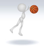 3d human basketball player. With ball on white background Royalty Free Stock Images