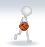3d human basketball player. With ball on white background Stock Image