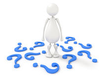 3d human with blue question mark Stock Image