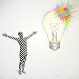 3d human character is body suit looking at abstract colorful lig Stock Images
