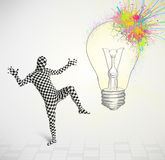 3d human character is body suit looking at abstract colorful lig Stock Photo