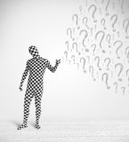 3d human character is body suit looking at hand drawn question m Stock Photo