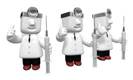 3D human character The Doctor with a Syringe. 3D Square Man Seri Royalty Free Stock Photo