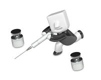 3D human character The Doctor with a Syringe. 3D Square Man Seri Stock Photos