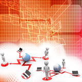 3d human connecting with  globe and laptop illustration Stock Photo