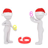 3D human figures playing with number 6 and 9 Royalty Free Stock Images