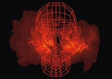 3d human head. As technology futuristic symbol Stock Photos