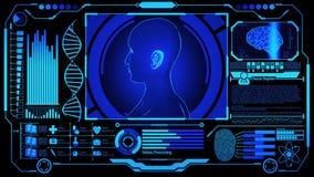 3D Human Head Model Rendering Rotating in Medical Futuristic HUD Display Screen including DNA, Digital Brain Scan, Fingerprint and