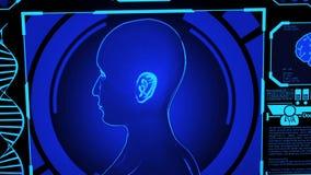 3D Human Head Model Rendering Rotating in Medical Futuristic HUD Display Screen including digital elements Camera Panning