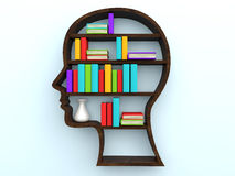 3d human head shape bookshelf and books. 3d render of human head shape bookshelf and books Royalty Free Stock Photo