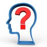 3d human head shape and question mark. 3d render of human head shape and question mark Stock Photos