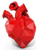 3d human heart with faceted low-poly geometry effect Stock Images