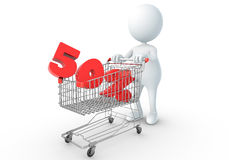 3D human holding Shopping Cart. With 50 percent Royalty Free Stock Photos