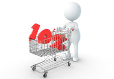 3D human holding Shopping Cart. With 10percent Stock Images