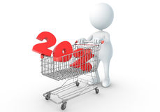 3D human holding Shopping Cart. With 20percent Royalty Free Stock Photography