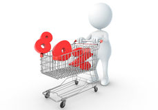 3D human holding Shopping Cart. With 80percent Royalty Free Illustration