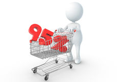 3D human holding Shopping Cart. With 95 percent Royalty Free Stock Images