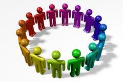 3D human-like-characters, people, circle, teamwork. 3D graphics with human characters, circle Royalty Free Stock Photo