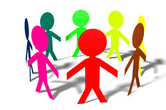 3D human-like-characters, people, circle, teamwork. 3D graphics with human characters, circle Stock Photography
