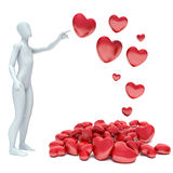 3d human in love with 3d red heart.  Stock Illustration