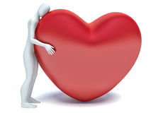 3d human in love with 3d red heart Royalty Free Stock Images