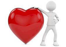 3d human in love with 3d red heart Stock Photo