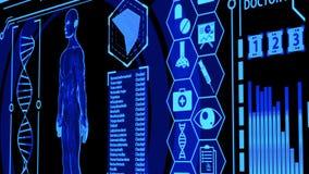 3D Human Model Rendering Rotating in Medical Futuristic HUD Display Screen including digital elements Camera Panning