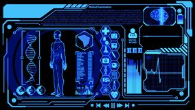 3D Human Model Rendering Rotating in Medical Futuristic HUD Display Screen including Icon sets, Digital Brain Scan, Heart Wave and