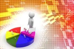3d human percentage and circle graph illustration Royalty Free Stock Photo