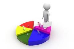 3d human  percentage and circle graph Royalty Free Stock Photos