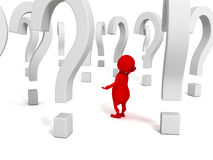 3d human person with many question marks Stock Image