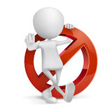 3d human with a Prohibition sign Royalty Free Stock Images
