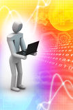 3d human showing laptop display. In attractive color background Royalty Free Stock Images