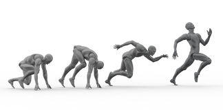 3D Human sprint. 3D Human running phases from start Stock Photography