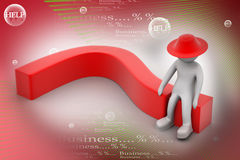 3D human think with a red question mark. In color background Royalty Free Stock Images