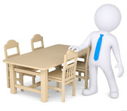 3d human and wooden furniture. 3d human next to wooden furniture.  render on a white background Stock Photos