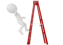 3d humanoid character falling from a ladder Royalty Free Stock Photo