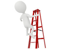3d humanoid character falling from a red ladder Stock Photo