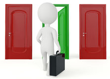 3d humanoid character go to a open door Stock Photography