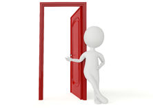 3d humanoid character leans a red door Royalty Free Stock Photo