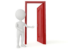 3d humanoid character with a open red door Royalty Free Stock Images