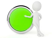 3d humanoid character present a button Stock Image