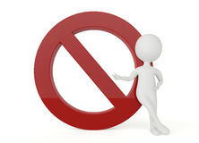 3d humanoid character present a forbidden sign Stock Photo